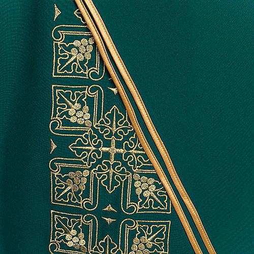 Casula litúrgica e estola bordado grande cruz 5