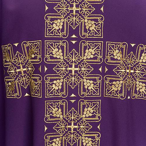 Casula litúrgica e estola bordado grande cruz 7