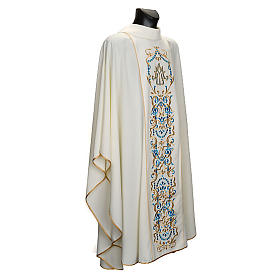 White Marian Chasuble with embroidered orphrey s1