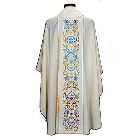 White Marian Chasuble with embroidered orphrey s5