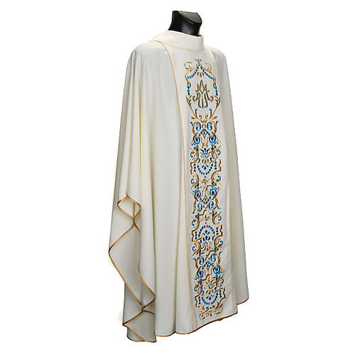 White Marian Chasuble with embroidered orphrey 1