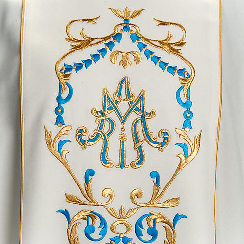 White Marian Chasuble with embroidered orphrey 3