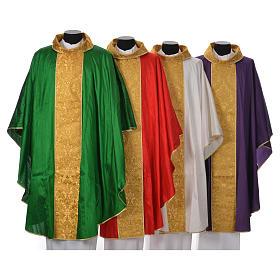Casula sacerdotale seta 100% ricamo dorato s1