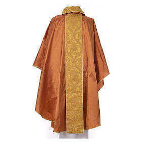 Casula sacerdotale seta 100% ricamo dorato s4
