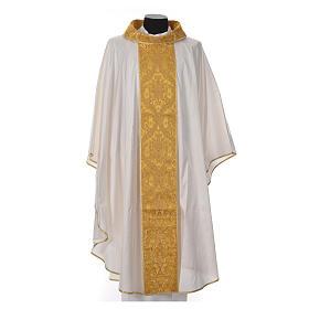 Casula sacerdotale seta 100% ricamo dorato s6