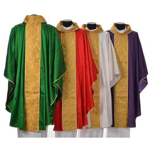 Casula sacerdotale seta 100% ricamo dorato 2