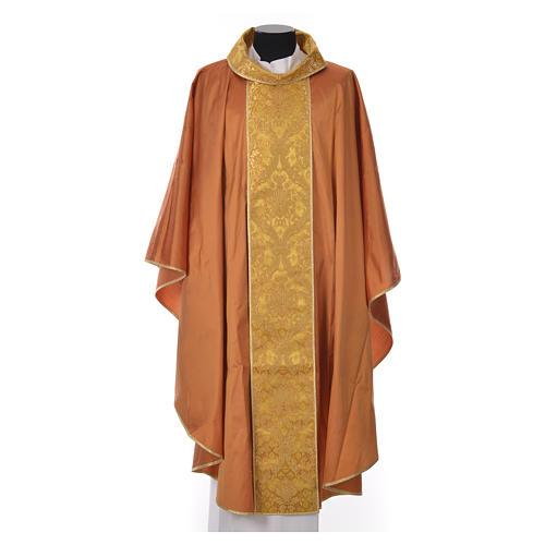 Casula sacerdotale seta 100% ricamo dorato 3