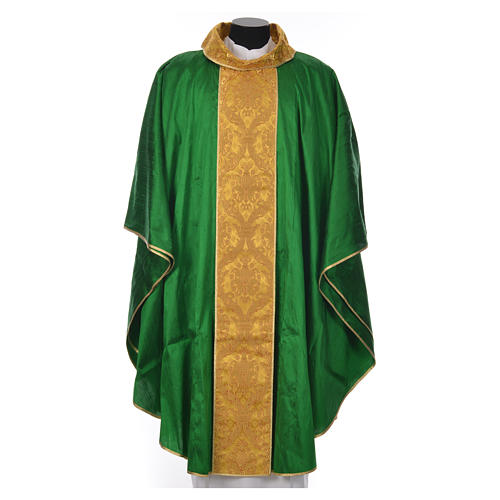 Casula sacerdotale seta 100% ricamo dorato 8