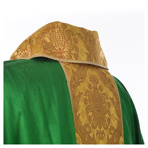 Casula sacerdotale seta 100% ricamo dorato 11