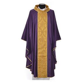 Casula sacerdote 100% seda bordado dourado s5
