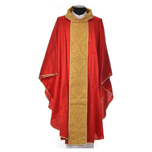 Casula sacerdote 100% seda bordado dourado 7
