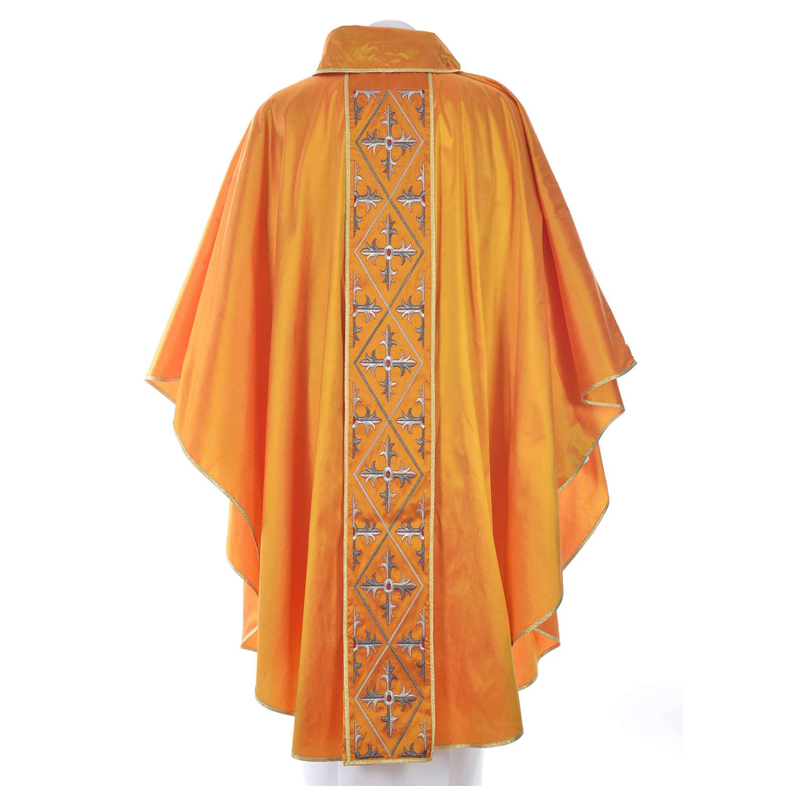 Casula sacerdotale seta 100% ricamo croce 4
