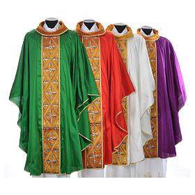 Casula sacerdotale seta 100% ricamo croce s1