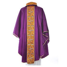 Casula sacerdotale seta 100% ricamo croce s6