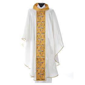Casula sacerdotale seta 100% ricamo croce s7