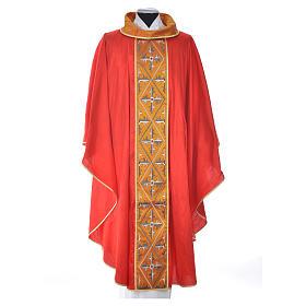 Casula sacerdotale seta 100% ricamo croce s9