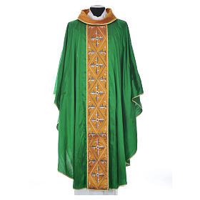 Casula sacerdotale seta 100% ricamo croce s11