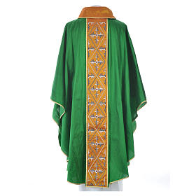 Casula sacerdotale seta 100% ricamo croce s12