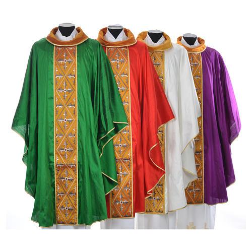 Casula sacerdotale seta 100% ricamo croce 1