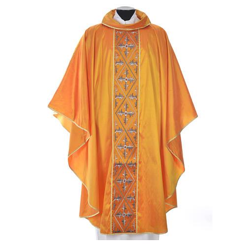 Casula sacerdotale seta 100% ricamo croce 3
