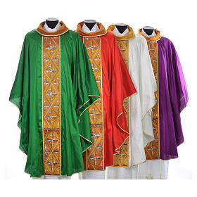 Casula sacerdote 100% seda bordado cruz s1