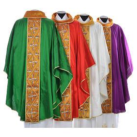 Casula sacerdote 100% seda bordado cruz s2