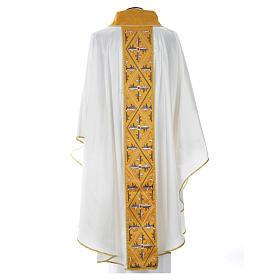 Casula sacerdote 100% seda bordado cruz s8
