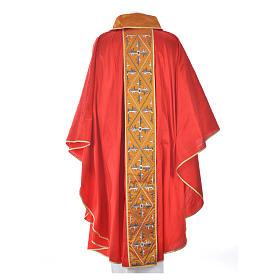Casula sacerdote 100% seda bordado cruz s10