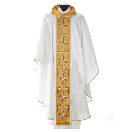 Casula sacerdote 100% seda bordado cruz 7
