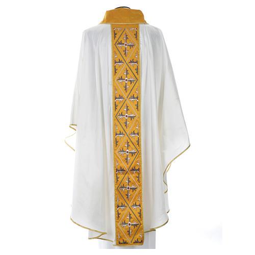 Casula sacerdote 100% seda bordado cruz 8
