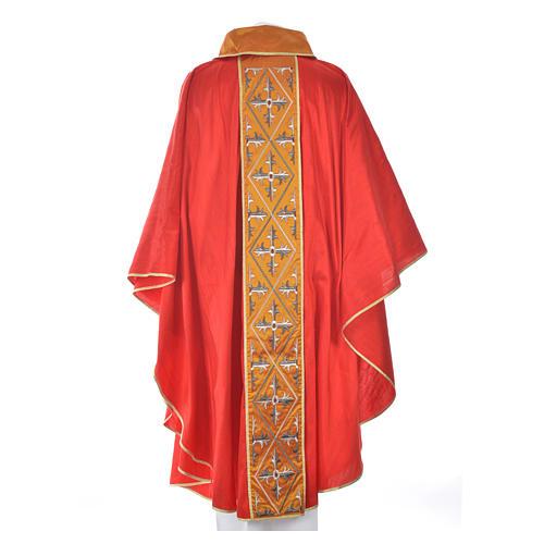 Casula sacerdote 100% seda bordado cruz 10