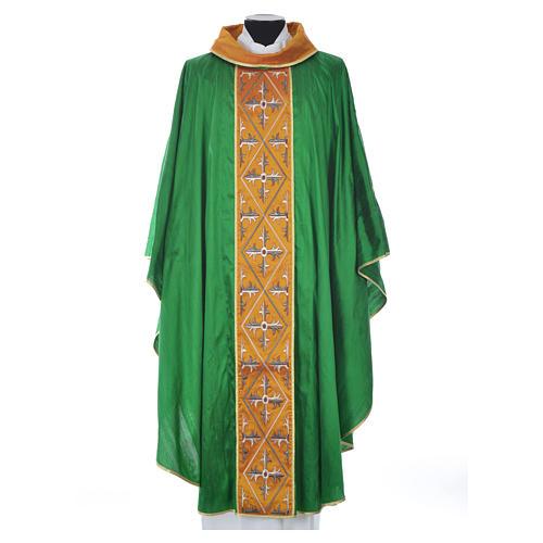 Casula sacerdote 100% seda bordado cruz 11