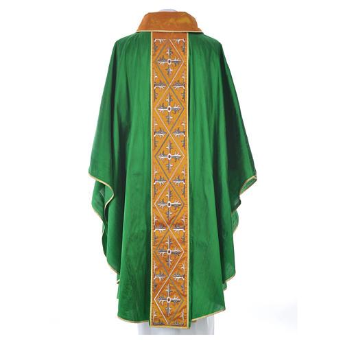 Casula sacerdote 100% seda bordado cruz 12