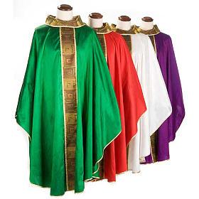 Casula sacerdote 100% seda bordado quadrados s1