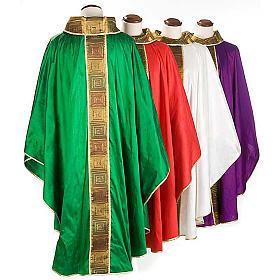 Casula sacerdote 100% seda bordado quadrados s2