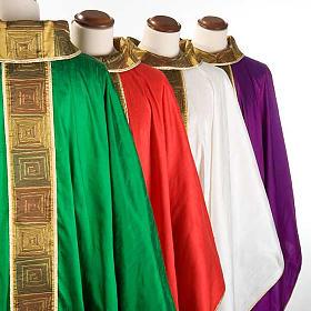 Casula sacerdote 100% seda bordado quadrados s3
