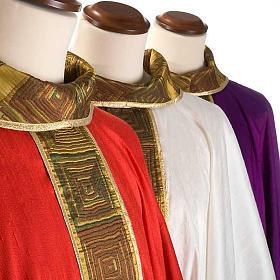 Casula sacerdote 100% seda bordado quadrados s4