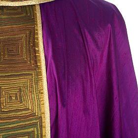 Casula sacerdote 100% seda bordado quadrados s6