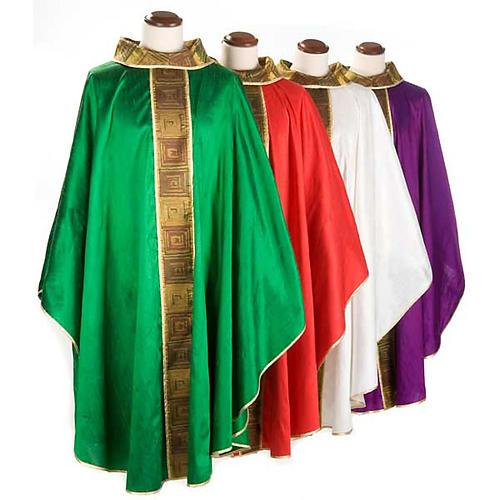 Casula sacerdote 100% seda bordado quadrados 1