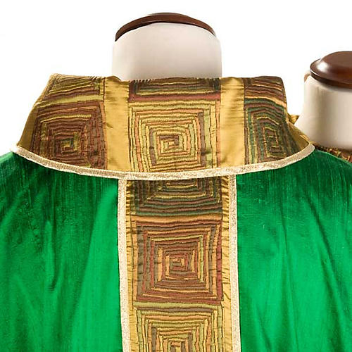 Casula sacerdote 100% seda bordado quadrados 5