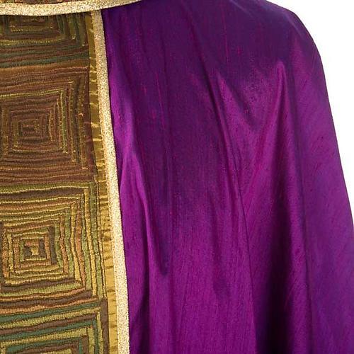 Casula sacerdote 100% seda bordado quadrados 6