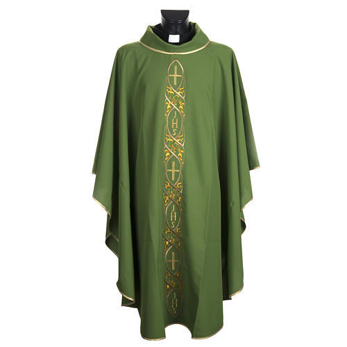 Casula liturgica con ricamo IHS 1