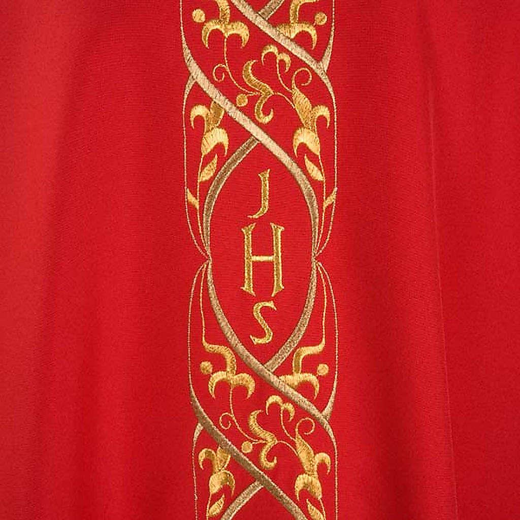 Casula litúrgica com bordado IHS 4