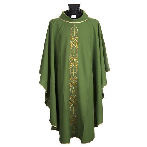 Casula litúrgica com bordado IHS 1