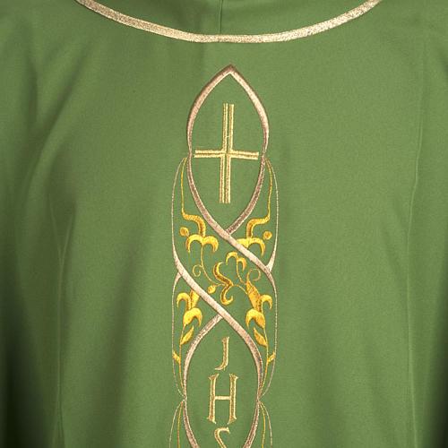 Casula litúrgica com bordado IHS 2