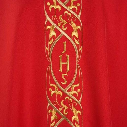 Casula litúrgica com bordado IHS 3
