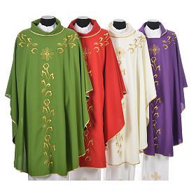 Casula liturgica con ricamo dorato e croce s8