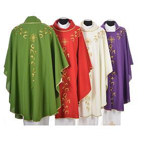 Casula liturgica con ricamo dorato e croce s9