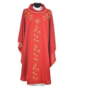Casula liturgica con ricamo dorato e croce s5