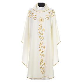 Casula litúrgica com bordado dourado e cruz s11
